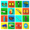 Gloves, suit, helmet, sneakers and other equipment. Cyclist outfit set collection icons in flat style vector symbol