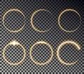Glow circle light effect. Round magic yellow frame. Shine circle vector. Royalty Free Stock Photo