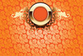 Glow Gold Ornate Over Orange Wallpaper Stock Image
