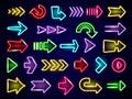 Glow neon arrows. Light direction arrows retro outside street advertizing elements vector neon realistic