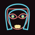 Glow neon girl face Royalty Free Stock Photo