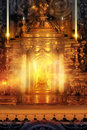 Glowing altar magical golden tabernacle with light candles and rays of light Royalty Free Stock Photo