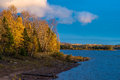 Glowing autumn landscape a at sunset bond falls state park upper peninsula michigan Royalty Free Stock Photo