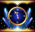 Glowing background with clock Royalty Free Stock Photography