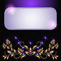 Glowing background with stars and golden ornament Stock Photos