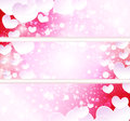 Glowing banners with paper hearts Royalty Free Stock Photo