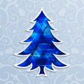 Glowing blue Christmas tree. Design elements for holiday cards.