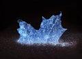 Glowing Blue Frozen Maple Leaf Royalty Free Stock Photo