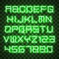 Glowing Blue Green Alphabet.