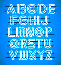 Glowing Blue Neon Alphabet.