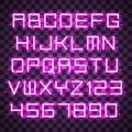 Glowing Blue Purple Alphabet.