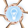 Glowing bulb surrounded by hands Royalty Free Stock Images