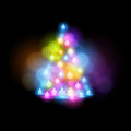 Glowing christmas tree vector illustration Royalty Free Stock Image