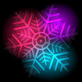 Glowing colorful snowflake on a black background vector eps Stock Images