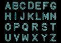 Glowing Cyan Blue Neon Alphabet isolated and transparent. Custom handcrafted font for design.