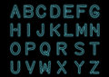Glowing Cyan Blue Neon Alphabet and transparent. Custom font for design. Shiny letters and symbols.