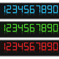 Glowing digital numbers blue green and red colors Royalty Free Stock Photos