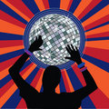 Glowing disco ball and dancer hands Stock Photography