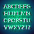 Glowing Double Neon Green Alphabet