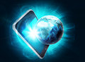 Glowing Earth and mobile on abstract background Royalty Free Stock Photo