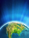 Glowing Earth - North America Royalty Free Stock Photo