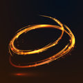Glowing fire gold circle light effect on black background Royalty Free Stock Photo