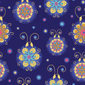 Glowing fireflies seamless pattern background vector with hand drawn elements Royalty Free Stock Images