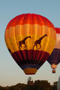 Glowing giraffe hot air balloon Stock Photography