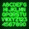 Glowing Green Neon Alphabet. Royalty Free Stock Photo