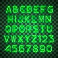 Shining and glowing green neon alphabet and digits. Royalty Free Stock Photo