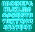 Glowing Green Neon Alphabet.