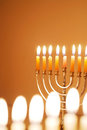 Glowing Hanukkah Candles Royalty Free Stock Image