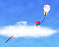 Glowing lamp balloon with inside hanging growth red arrow f flying through cloud in the sky Royalty Free Stock Photo