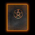 Glowing leather book with pentagram vector Royalty Free Stock Image