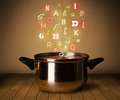 Glowing letters coming out from cooking pot