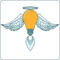 Glowing Light Bulb with Angel Wings, Halo and a