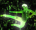 Glowing man jump abstract background with a in Royalty Free Stock Photo