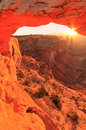 Glowing Mesa Arch at sunrise, Canyonlands National Park, Utah, U Royalty Free Stock Photo