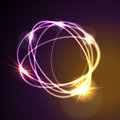Glowing neon abstract circles shiny background