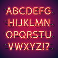 Glowing neon bar alphabet used pattern brushes included there are fastening elements in a symbol palette Stock Photography