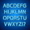 Glowing Neon Blue Alphabet