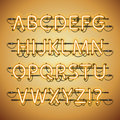 Glowing Neon Golden Alphabet