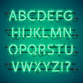 Glowing Neon Green Alphabet