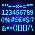 Glowing neon numbers, text symbols and currency signs vector typeset, font