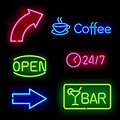 Glowing neon signs Royalty Free Stock Photography