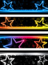 Glowing Neon Stars Banner Background Stock Photography