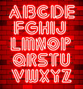 Glowing Orange Neon Alphabet.