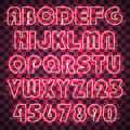 Glowing pink neon alphabet and digits.