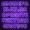 Glowing purple neon alphabet and digits.