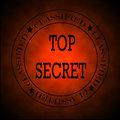 Glowing Red Classified Top Secret  Symbol or Stamp Stock Photos
